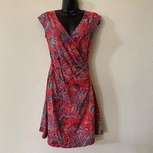 Ralph Lauren Red Paisley Floral Print Wrap Dress